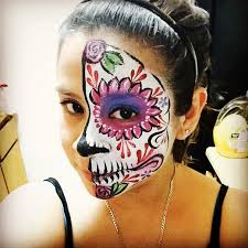 cute girly half sugar skull face day of the dead dia de los muertos calaveras roses fl face painting paint by