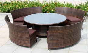 wicker rattan furniture cane work elegant round glass coffee table four piece brown comfortable sofa additional