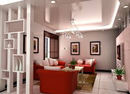 decorative plasterboard parion walls with shelves in modern living room