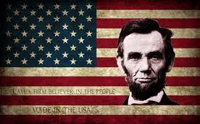Resultado de imagen de abraham lincoln con la bandera americana