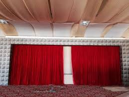 electric black velvet fabric blackout church stage curtain system