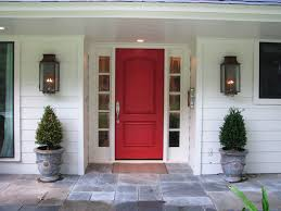Decorations:Amazing Red Door In The Center Of Green Plants Crawl On The  Wall Captivating