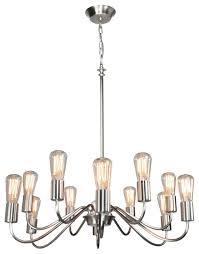vintage 12 light brushed nickel chandelier