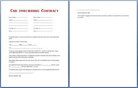 Purchasing Contracts Templates Car Purchase Contract Business Mentor