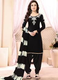 Punjabi Suit Stitching Designs Black Faux Georgette Festival Punjabi Suit