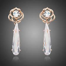 unusual design bridal earrings wedding earrings chandelier earrings cubic zirconia dangle earrings bridal drop earrings flower tear drop
