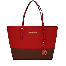 michael kors jet set travel saffiano leather small colour block tote bag mandarin