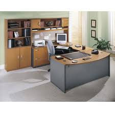 bbf bush series c package executive bow front u shaped desk natural cherry ncpackageb bush furniture bush office