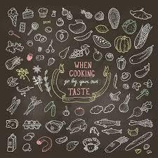 <b>Нарисованный</b> рукой комплект еды, значки <b>мела</b> Иллюстрация ...