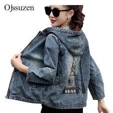 Hooded Denim Coat Ladies <b>Plus Size 3XL Fashion</b> Embroidery ...
