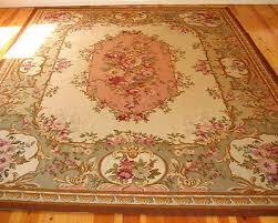 vintage aubusson needlepoint rug wool 11 9 x 8 7