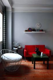 red sofa in retro look interior