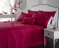 fushia hot pink colour stylish modern fl ruffles duvet quilt cover set
