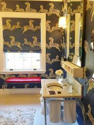 Good ... Zebras Denim Wallpaper With Matching Fabric On Roman Shade Scalamandre  ...