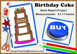 Birthday Cake Book Report Project  templates  printable worksheets     Unique Teaching Resources Fun Ideas For Book Report Projects  Birthday Cake Templates