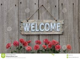 Wood Welcome Sign With Mum Border On Wood Fence Stock Image Image