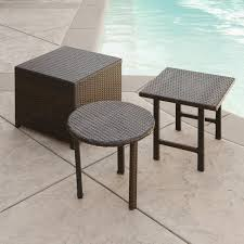 lakeport outdoor 3pc brown wicker side table set