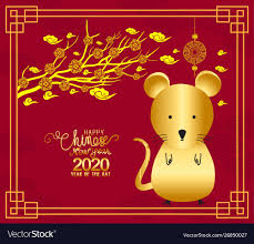 2020 chinese new year calendar year rat Royalty Free Vector