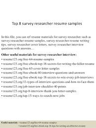Survey Researcher Sample Resume top10000surveyresearcherresumesamples1006310000jpgcb=100432100000459100 1