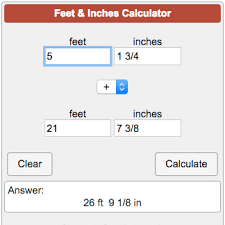 Ft To Inches Chart Feet And Inches Calculator