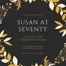 Black And Gold Elegant 70th Birthday Invitation Templates By Canva