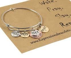 Inspirational Quotes Bracelets New Awesome Idea Mantra Bracelet Amazon Com Wake Pray Slay Repeat