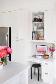 Office in kitchen Architecture Contemporary Kitchen In White With Small Home Office Nook With Drawers And Cabinet Digsdigs 25 Ideas To Incorporate An Office Nook Into Kitchen Digsdigs