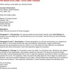 Stylist Assistant Cover Letter Hair Stylist Cover Letter Sample
