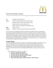 Internal Memo Samples Mcdonalds Project Internal Memo Example Internal Memo Mcdonalds