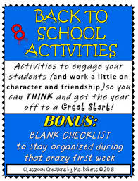 First Week Character Friendship Building Activities Bonus Teacher Chart