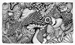 Mushroom Doodles By Vedica Psychedelic Coloring Pages Page Black