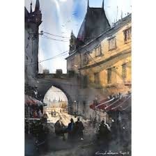 cuneyt senyavas prague 13 x 19 inch watercolor on paper cityscape painting ac cts 004