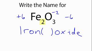how to write the name for fe2o3 iron iii oxide