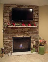 exellent fireplace electric fireplace ideas with tv above corner stacked stone gas in