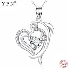 necklace 925 sterling silver cubic zirconia love heart necklace lovely penguin pendants necklaces jewelry for