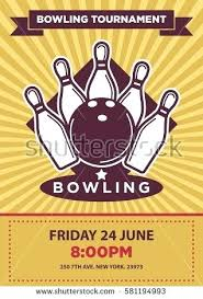 Bowling Flyer Template Word Tournament Poster Design Stock Vector