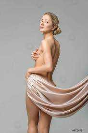 Beautiful Naked Woman With Silk Fabrics Covering Intimate Zone Stock Photo