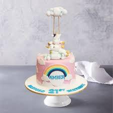 unicorns clouds rainbow birthday cake
