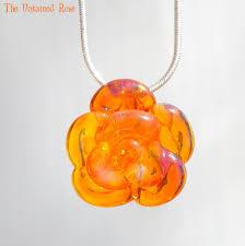 rose necklace glass hand blown lampwork flower pendant