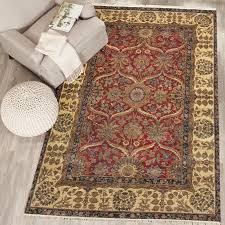 rugsville agra maroon beige wool rug 6 x 9