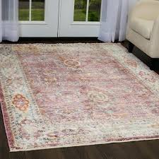 round area rugs with fringe artisan pink ivory distressed rug by miller 41 area rug fringe