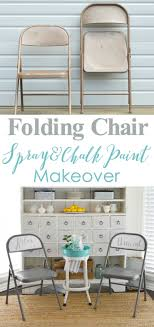 spray and chalk paint folding chair makeover folding chairs are so handy for extra seating see how to make over a thrift chair