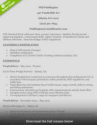 How To Write Perfect Truck Driver Resume With Examples Delivery