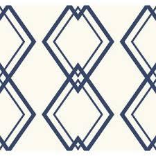 Diamond Designs Diamond Link White And Cobalt Blue Geometric Wallpaper