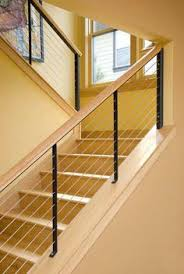 cable stair railing: welded powder-coated steel with stainless cables  (Wingnut