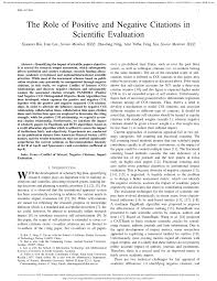 Pdf The Role Of Positive And Negative Citations In Scientific