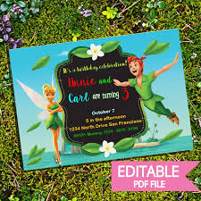 Tinkerbell Invitations Printable Editable Peter Pan And Tinkerbell Invite Printable And