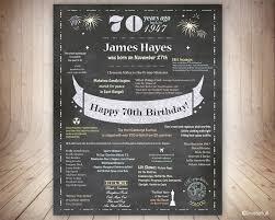 uk 70th birthday gift for dad 70th birthday poster uk facts chalkboard 70th birthday