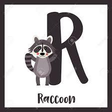 R 文字語彙アライグマに立っていると 2 つの手を上げますかわいい子供たち Abc 動物園アルファベット