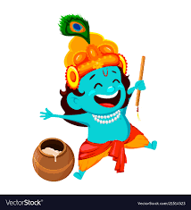 funny cartoon character lord krishna vector image